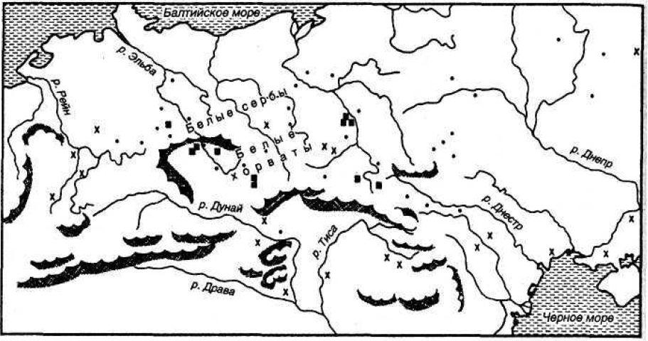 Топонимы, связанные с сарматами-аланами, сражавшимися в войсках гуннов в V веке, и распространение богатых княжеских захоронений в Центральной и Восточной Европе.