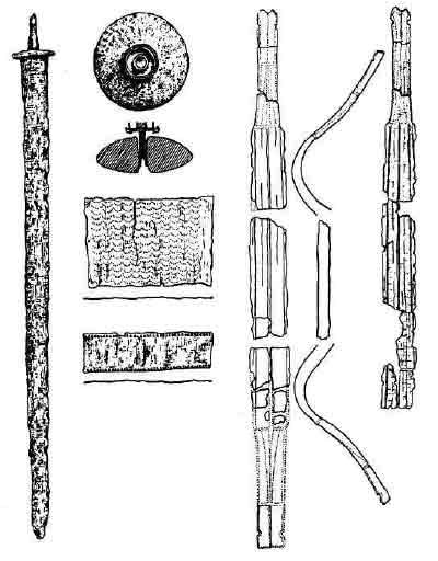 Меч и золотой лук (атрибут правителя) из погребения гуннского вождя в Якушовице